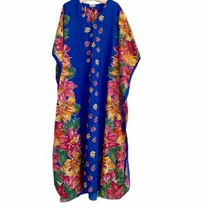 Winlar Floral Tropical Royal Blue Long Caftan